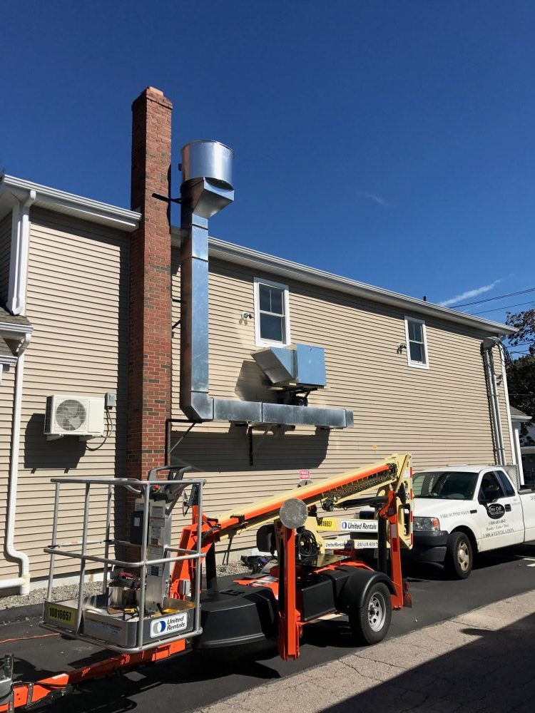A commercial hood system installation in Boston exterior shot